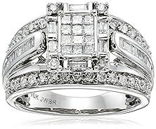 buy 10K White Gold Diamond Ring (1 Cttw, I-J Color, I2-I3 Clarity), Size 8