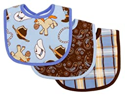 Trend Lab 3 Count Bib Set, Cowboy Baby
