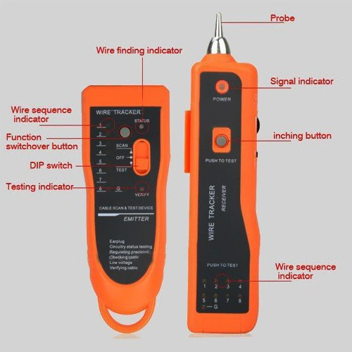 Network Cable Tester Phone Lan Line Wire Tracker Scanning Lan Ethernet Phone Toner Wire Tracker Tracking System & Tester