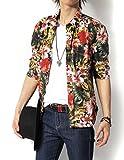 (リピード) REPIDO シャツ メンズ 七分袖シャツ カジュアルシャツ 花柄シャツ アロハシャツ ブロードシャツ 総柄シャツ フラワープリント 七分袖花柄シャツ A.ネイビー Lサイズ