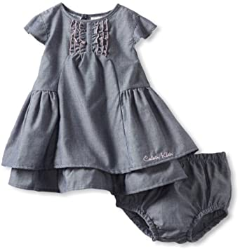 Calvin Klein Baby-Girls Infant Dress with Panty, Blue, 18 Months