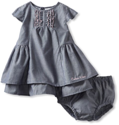 Calvin Klein Baby-Girls Infant Dress with Panty, Blue, 12 Months