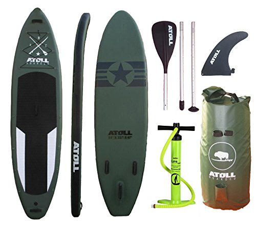 """Atoll 11'0"""" Foot Inflatable Stand up Paddle Board, (6 Inches Thick) Isup, Bravo Hand Pump and 3 Piece Paddle, Travel Backpack"""