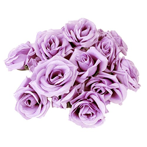 Tinksky 20pcs Artificial Curving Brim Rose Flower Craft Home Wedding Christmas Party Decoration (Light Purple)