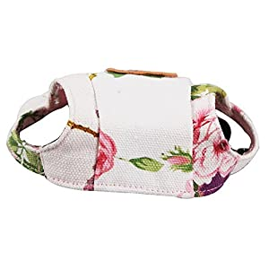 Happy Hours - Dog Hat With Elastic Leather Chin Strap Ear Holes Visor Cap Puppy Pet Baseball Outdoor Sun Hat Oxford Fabric Canvas Sunbonnet 6 Colors 2 Sizes Available (Flowers, Size S)