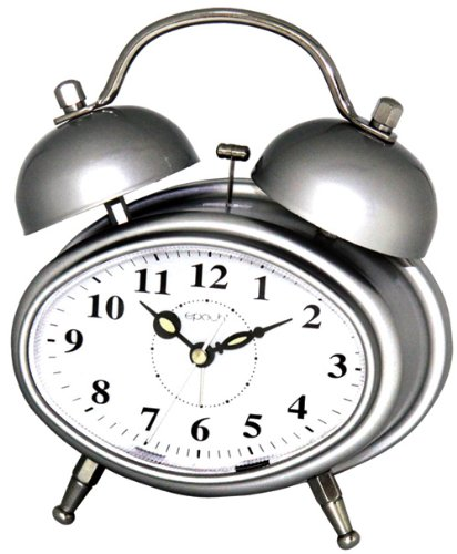 Maple's Oval Double Bell Alarm Clock, Silver finish