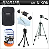 Essential Accessories Kit For Nikon Coolpix S01 Digital Camera Includes Deluxe Hard Case + 50 Tripod W/Case +USB 2.0 SD Card Reader + Mini Tabele Top Tripod + LCD Screen Protectors + More