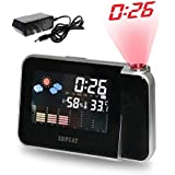 [NEW Version] ZHPUAT 180 Degree Projection Alarm Clock, Snooze, Colourful Screen LED Backlight, Date, Temperature, Humidness, Week, Alarm Status, Both Battery and Adaptor Operated (Color Black)