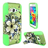 4 Items Combo For Samsung Galaxy Prevail LTE / Core Prime G360 (Boost) Green Hawaiian Flower Hybrid Design Case Cover with Built in Kickstand + Car Charger + Free Stylus Pen + Free 3.5mm Earphone
