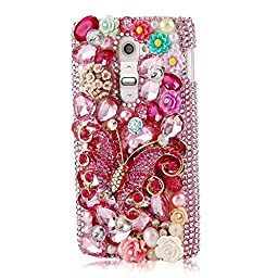 LG G4 Pro Bling Case - Fairy Art Luxury 3D Sparkle Series Butterfly Rose Flowers Crystal Design Back Cover with Soft Wallet Purse Red Cloth Pouch - Red