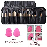 24 Pcs Makeup Brush Set With Carry Case + Free 2 Pcs Makeup Puff and 1 Pc Brush Egg Brush Cleaning Tool