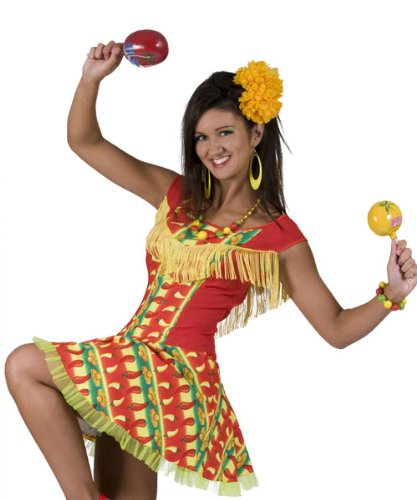 Pierro´s Kostüm Kleid Diandra Frauenkostüm Mexikanerin Kleid Größe 44 46 Einheitsgröße für Karneval, Fasching, Motto Party / Nationen, Mexiko, Fußball WM FAN Artikel