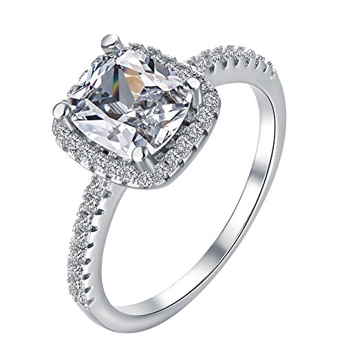 TenFit Jewelry Women's Pretty 18K White Gold Plated Princess Cut CZ Crystal Engagement Rings Best Promise Rings (Engagement Rings Princess Cut compare prices)