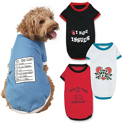Funny Dog T Shirts Set Of 4 Cat And Dog Clothes