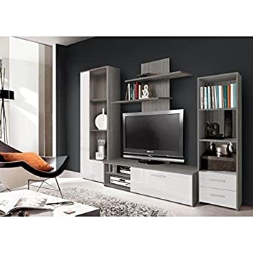 finlandek - Mueble TV pared pysyä 230 cm - Décor Chene gris y blanco brillante