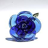 Blue Glass Rose Long Stemmed Flower, Forever Untamed Rose Hand Blown Extra Large Rose