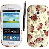 SAMSUNG GALAXY S3 MINI I8190 SILICONE SILIKON CASE SKIN GEL TPU Hülle COVER + STYLUS BY GSDSTYLEYOURMOBILE {TM} (Roses on White)