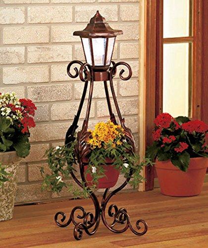 Solar Light Lantern Planter Flower Pot Metal Outdoor