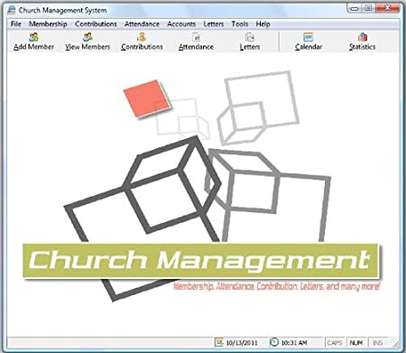 Church Management Software Professional System; Church Facilities, Office,Bookkeeping and Finances Administration Software; Windows Only CD-ROM;Single License (50,000 Members)