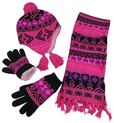 [N'Ice Caps Big Girls Sherpa Lined Geo Print Hat/Scarf/Glove Knitted Set (8-12yrs, fuchsia/black/neon] (Pink Top Hats)