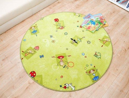 Kinderteppich Princess grün rund, Größe Auswählen:240 cm rund