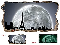 Startonight 3D Mural Wall Art Photo Decor Window Moon for Paris Amazing Dual View Surprise Large 32.28 inch By 59.06 inch Wall Mural Wallpaper for Living Room or Bedroom Urban Collection Wall Art