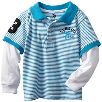 U.S. POLO ASSN. Little Boys' Knit Slider Polo Top, Teal, 2T