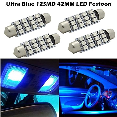 Partsam For 2005-2013 Ford Escape 4pcs SUPER Blue LED 12SMD 42MM MAP LIGHT DOME LIGHT 214-2 212SMD-2 (Ford Escape Dome Light compare prices)