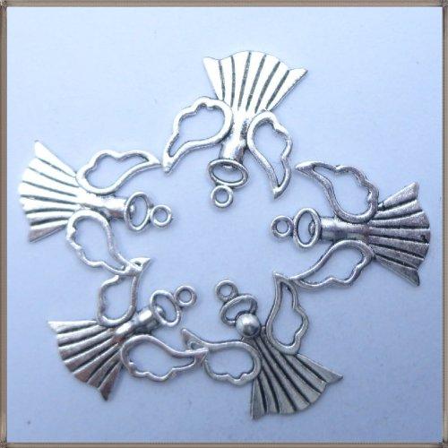 Tibetan silver Beauty Angel Charm Pendant Beads Findings 5Pcs (22mm x 25mm)