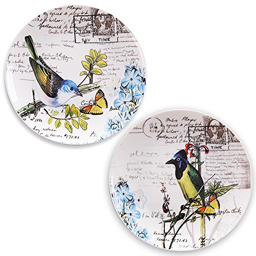 Mallvoler Flower and Bird Design China Dinnerware- Small Dinner Plates, 8 inch, Set of 2 (2 Cup Ovenproof Bowls compare prices)