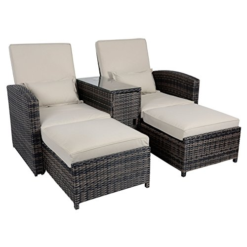 Buy Cheap Antigua Rattan Wicker Reclining Sun Lounger Companion