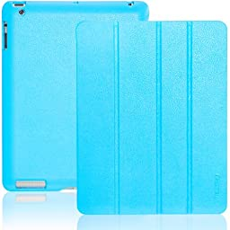 INVELLOP Caribbean Blue Leatherette Cover Case for iPad 2 / iPad 3 / iPad 4 (Built-in magnet for sleep/wake feature) iPad 2 case