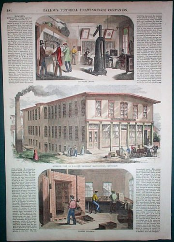 1855 Hand Colored Illustration Walcott Brothers' Manufactory, Pawtucket, Ri