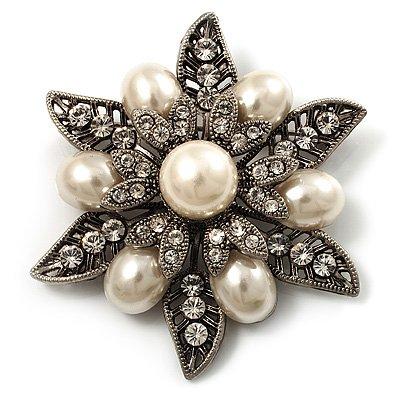Vintage Filigree Pearl Style Crystal Floral Brooch