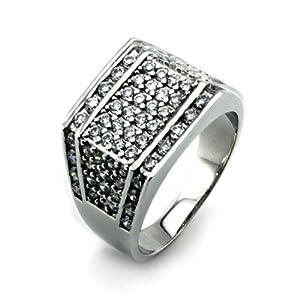 Tioneer Silver Men's Ring w/ White Diamond CZ - Size 12