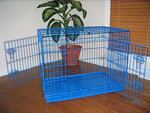 "Extra Large 48"" Folding Pet Dog Cat Crate Cage Kennel With Plastic Tray *Blue*"