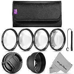 58MM Essential Kit for CANON Rebel (T3i T3 T2i T1i XT XTi XSi) CANON EOS (1100D 600D 550D 500D 450D 400D 350D 300D 60D) - Includes: Close-Up Macro Filter Set + Tulip Flower Lens Hood + Snap On Lens Cap w/ Cap Keeper + MagicFiber Microfiber Lens Cleaning Cloth