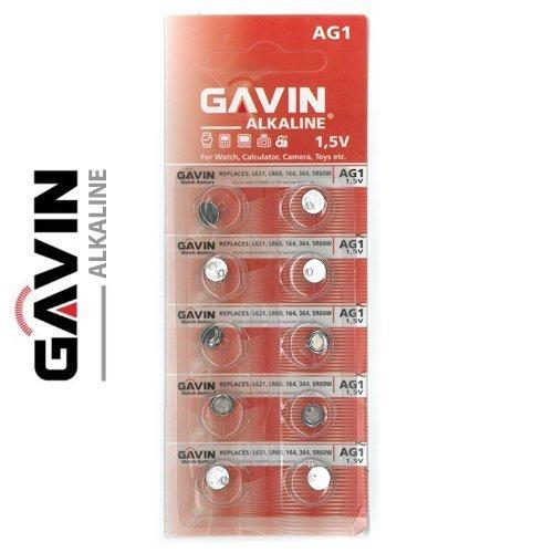 10 x AG1 Gavin Piles bouton 1,5V, L621, LR60, 164, 364, SR60W