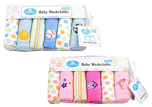 CribMates Baby Washcloths, Blue, 3-Pack (18 Wash Cloths in Total)