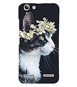 Cat with a Flower Crown 3D Hard Polycarbonate Designer Back Case Cover for Lenovo Vibe K5 Plus :: Lenovo Vibe K5 Plus A6020a46 :: Lenovo Vibe K5 Plus Lemon 3