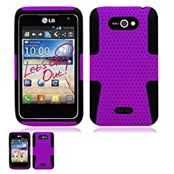 LG Motion 4G MS770 Purple And Black Hybrid Case