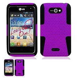 LG Motion 4G MS770 Purple And Black Hybrid Case