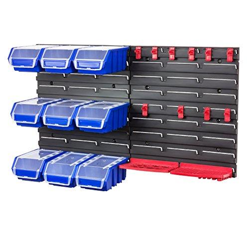 Werkzeugwand-Wandregal-inkl-Stapelboxen-m-Deckel-blau-Werkzeug-Halterung-Steckregal-Wandplatten-9-Boxen