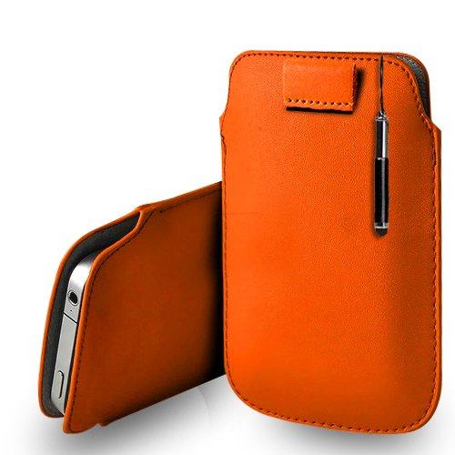 Huawei Ascend G620s Orange Leder Pull Tab Tasche Tasche + Retractable Stylus Pen & Poliertuch