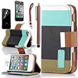 Pandamimi ULAK Colorful PU Leather Wallet Type Magnet Design Flip Case Cover for IPhone 4 4G 4S with Screen Protector+ Stylus