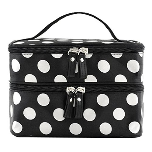 duafire-cosmetic-bag-double-layer-dot-pattern-travel-toiletry-bag-organizer-with-mirror-black