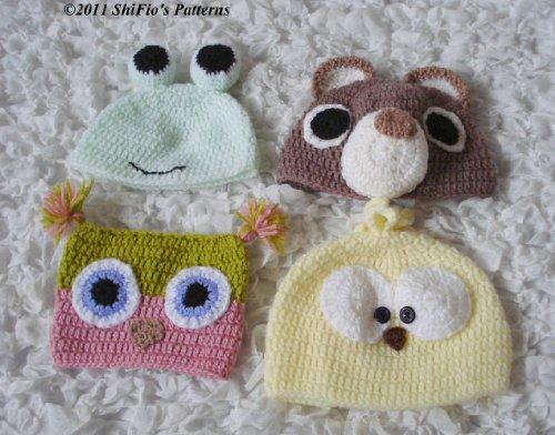171 Baby Animal Hats 5 Sizes Owl Bear Crochet Pattern 171 USA