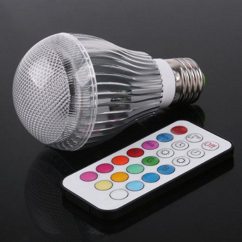 TTT-Mall Farbwechsel LED-Lampen bunte Led Leuchtmittel Strahler Glühbirne birne Lampe 9W E27 Farbe dimmbar inklusive Infrarot-Fernbedienung