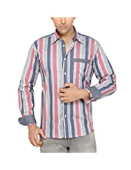 Moksh Pink Black Slim Fit Cotton Shirt V2IMS0414LS-194