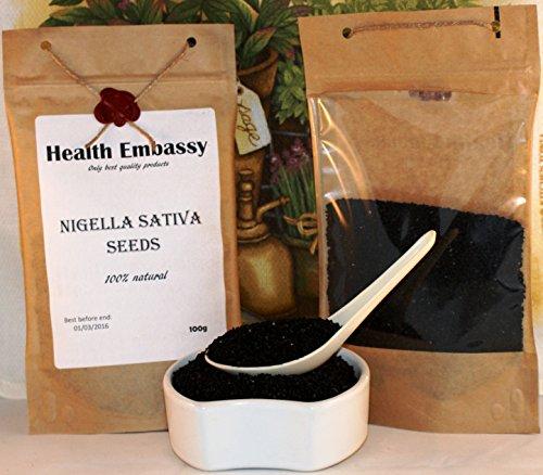 Semi di Cumino Nero ( Nigella Sativa ) 100g / Nigella Sativa Seeds 100g Health Embassy Black Seed Cumin